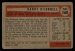 1954 Bowman #160  Danny OConnell  Back Thumbnail