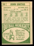1968 Topps #100  Johnny Unitas  Back Thumbnail