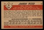 1953 Bowman #134  Johnny Pesky  Back Thumbnail