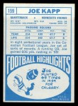 1968 Topps #159  Joe Kapp  Back Thumbnail