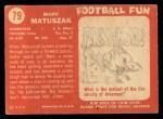 1958 Topps #79  Marv Matuszak  Back Thumbnail