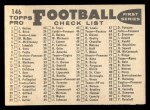 1959 Topps #146   Steelers Team Checklist Back Thumbnail