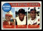 1969 Topps #2   -  Pete Rose / Matty Alou / Felipe Alou NL Batting Leaders Front Thumbnail