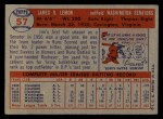 1957 Topps #57  Jim Lemon  Back Thumbnail