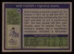 1972 Topps #185  Bob Tucker  Back Thumbnail