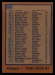 1978 Topps #659   Rangers Team Checklist Back Thumbnail