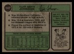 1974 Topps #147  Bart Johnson  Back Thumbnail