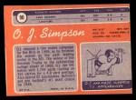 1970 Topps #90  O.J. Simpson  Back Thumbnail