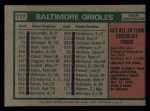 1975 Topps Mini #117   -  Earl Weaver Orioles Team Checklist Back Thumbnail