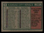 1975 Topps Mini #72   -  Jack McKeon Royals Team Checklist Back Thumbnail