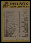 1974 Topps Red Checklist   Red Sox Red Team Checklist Back Thumbnail
