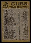 1974 Topps Red Checklist   Cubs Back Thumbnail