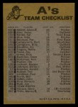1974 Topps Red Team Checklists #18   A's Team Checklist Back Thumbnail