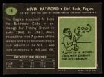 1969 Topps #16  Alvin Haymond  Back Thumbnail