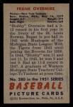 1951 Bowman #280  Frank Overmire  Back Thumbnail
