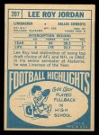 1968 Topps #207  Lee Roy Jordan  Back Thumbnail