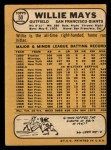 1968 Topps #50  Willie Mays  Back Thumbnail