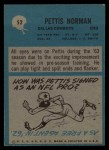 1964 Philadelphia #52  Pettis Norman   Back Thumbnail