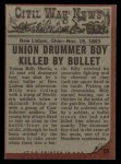 1962 Topps Civil War News #55   The Silent Drum Back Thumbnail