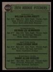 1974 Topps #602   -  Glenn Abbott / Rick Henninger / Craig Swan / Dan Vossler Rookie Pitchers    Back Thumbnail
