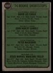 1974 Topps #597   -  Dave Chalk / John Gamble / Pete Mackanin / Manny Trillo Rookie Shortstops Back Thumbnail