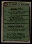 1974 Topps #606   -  Jim Fuller / Wilbur Howard / Tommy Smith / Otto Velez Rookie Outfielders Back Thumbnail