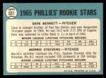 1965 Topps #521   -  Morrie Steevens / Dave Bennett Phillies Rookies Back Thumbnail