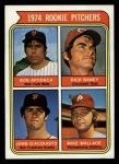 1974 Topps #608 COR  -  Dick Baney / John D'Acquisto / Mike Wallace / Bob Apodaca Rookie Pitchers   Front Thumbnail