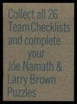 1973 Topps Football Team Checklists #2   Baltimore Colts Back Thumbnail