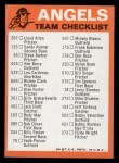 1973 Topps Blue Team Checklists #4   Califorina Angels Back Thumbnail
