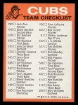 1973 Topps Blue Team Checklists #5   Chicago Cubs Back Thumbnail