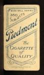 1909 T206 POR Bob Bescher  Back Thumbnail