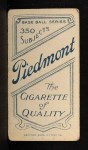 1909 T206 POR Patsy Dougherty  Back Thumbnail