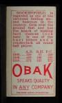 1911 T212 Obak #124 RED Ike Rockenfield  Back Thumbnail