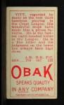 1911 T212 Obak #161 RED Oscar Vitt  Back Thumbnail