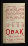 1911 T212 Obak #62 RED Gus Hetling  Back Thumbnail