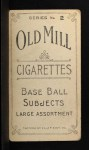 1910 T210-2 Old Mill Virginia League  Woolums  Back Thumbnail