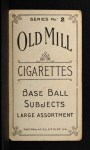 1910 T210-2 Old Mill C Smith  Back Thumbnail