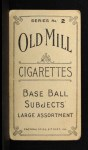 1910 T210-2 Old Mill Virginia League  Pritchard  Back Thumbnail