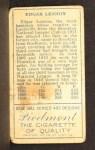 1911 T205  Edgar Lennox  Back Thumbnail