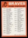 1973 Topps Blue Checklist   Braves Back Thumbnail