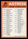1973 Topps Blue Checklist   Astros Back Thumbnail