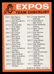 1973 Topps Blue Team Checklists #15   Montreal Expos Back Thumbnail
