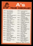 1973 Topps Blue Checklist   Athletics Back Thumbnail