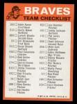 1973 Topps Blue Team Checklists #1   Atlanta Braves Back Thumbnail