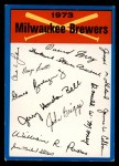 1973 Topps Blue Team Checklists #13   Milwaukee Brewers Front Thumbnail