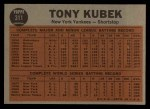 1962 Topps #311   -  Tony Kubek  Kubek Makes the Double Play Back Thumbnail