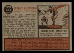 1962 Topps #151 NRM Johnny Klippstein  Back Thumbnail