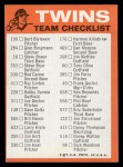 1973 Topps Blue Checklist   Twins Back Thumbnail