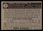 1952 Topps #74  Andy Hansen  Back Thumbnail